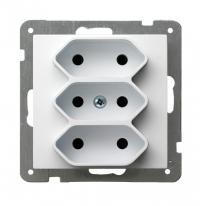 AS (biały) - gniazdo potrójne GP-3G/m/00