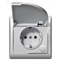Efekt (biały) - gniazdo bryzgoszczelne z uziemieniem schuko GPH-1FS/00/d