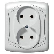 Ospel Ton biały - gniazdo podwójne GP-2C/00 Ospel