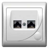 Efekt (biały) - gniazdo komputerowe podwójne kat.5e GPK-2F/F/00