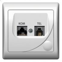 Efekt (biały) - gniazdo komputerowo-telefoniczne GPKT-F/F/00
