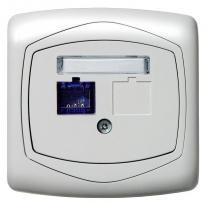 Ospel Ton biały - gniazdo komputerowe, pojedyncze, kat. 6, ekranowane, MMC GPK-1C/K6E/00 Ospel
