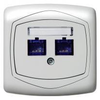 Ospel Ton biały - gniazdo komputerowe podwójne, kat. 6, ekranowane, MMC GPK-2C/K6E/00 Ospel