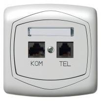 Ospel Ton biały - gniazdo komputerowo-telefoniczne RJ 45, kat. 5e, (8-stykowe) + RJ 11 (4-stykowe) GPKT-C/F/00 Ospel