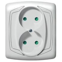Ospel Ton biały - gniazdo podwójne z przesłonami GP-2CP/00 Ospel