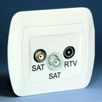 Akord (biały) - gniazdo antenowe SAT/SAT/RTV końcowe AZAR+SAT3.1-P2/11