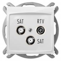 Carla (biały) - gniazdo R-TV-2xSAT końcowe Elektro-Plast Nasielsk