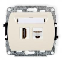 Trend (kremowy) - gniazdo poj. HDMI + gniazdo komp. poj. 1xRJ45, kat. 5e, 8-stykowy