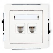 Deco (biały) - gniazdo telefoniczne podwójne RJ 11, 4-stykowe