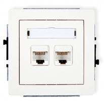 Deco (biały) - gniazdo komputerowe podwójne RJ45, kat. 5e