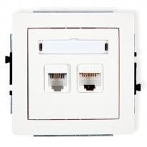 Deco (biały) - gniazdo telefoniczne + komputerowe (RJ11+RJ45)