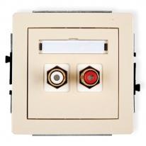 Deco (beżowy) - gniazdo podwójne RCA (typu cinch)