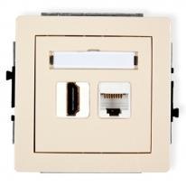 Deco (beżowy) - gniazdo HDMI + gniazdo komputerowe RJ45