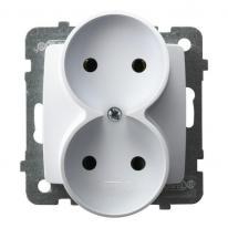 Karo (biały) - gniazdo podwójne do ramki GP-2SR/m/00