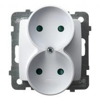 Karo (biały) - gniazdo podwójne do ramki z przesłonami GP-2SRP/m/00