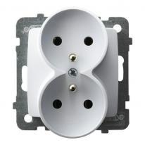 Karo (biały) - gniazdo podwójne (+0) do ramki GP-2SRZ/m/00