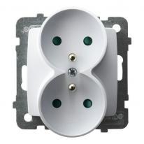 Karo (biały) - gniazdo podwójne (+0) do ramki z przesłonami GP-2SRZP/m/00