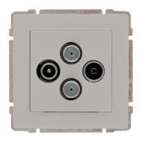 Kos 66 aluminium - gniazdo antenowe TV SAT podwójne Kos Elektro System