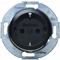 Berker 1930 czarny - gniazdo SCHUKO z przesłonami Berker