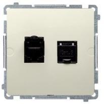 Basic moduł (beżowy) - gniazdo komputerowe podwójne ekranowane BM62E.01/12
