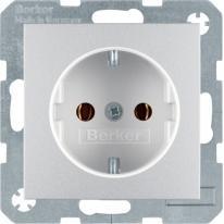 Berker Kwadrat/B3/B7 alum - gniazdo pojedyncze SCHUKO Berker