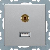 Berker Q1/Q3/Q7 aluminium - gniazdo USB/3,5 mm audio Berker