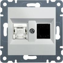 Hager Lumina 2 biały - gniazdo komputerowo-telefoniczne Hager