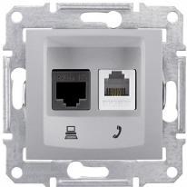 Schneider Sedna aluminium - gniazdo teleinformatyczne Schneider Electric