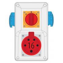 Rozdzielnica R-BOX KOMPAKT 16A/5 2x250V wył. 0/1 - B.165/2/01