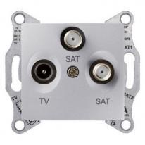 Schneider Sedna aluminium - gniazdo RTV + 2xSAT