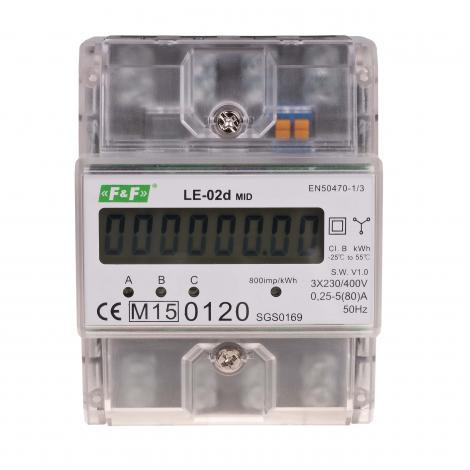 Licznik energii elektrycznej 3-fazowy LE-02d MID F&F