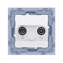 Simon 10 biały - gniazdo antenowe R-TV przelotowe CAP10.01/11