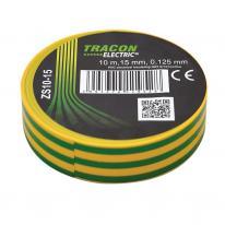 Taśma izolacyjna 10mx15mm żółto-zielony Tracon Electric