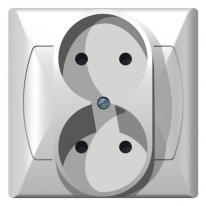 Ospel Akcent biały - gniazdo podwójne GP-2A/00 Ospel