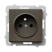 Hurtownia elektryczna Ospel Sonata czekoladowy - gniazdo pojedyncze (+0) GP-1RZ/m/40