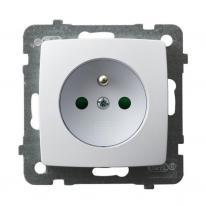 Ospel Karo biały - gniazdo pojedyncze (+0) z przesłonami GP-1SZP/m/00 Ospel