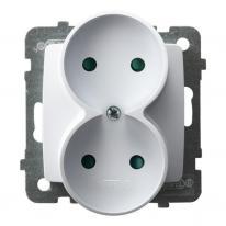 Ospel Karo biały - gniazdo podwójne do ramki z przesłonami GP-2SRP/m/00 Ospel