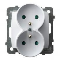Ospel Karo biały - gniazdo podwójne (+0) do ramki z przesłonami GP-2SRZP/m/00 Ospel
