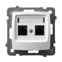 Ospel Karo biały - gniazdo komputerowe kat.5e GPK-2S/K/m/00 Ospel