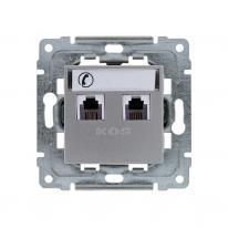 Kos Dante inox - gniazdo telefoniczne (x2) Kos Elektro System