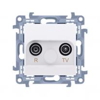 Simon 10 biały - gniazdo antenowe R-TV przelotowe CAP10.01/11 Kontakt-Simon