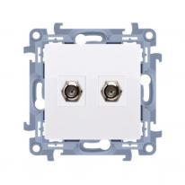 Simon 10 biały - gniazdo antenowe podwójne typu F CASF2.01/11 Kontakt-Simon