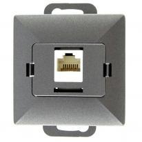 Abex Perła antracyt - gniazdo telefoniczno-komputerowe GTP-10P Abex
