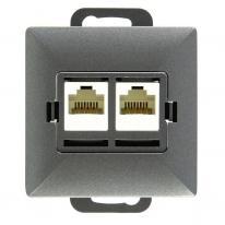 Abex Perła antracyt - gniazdo telefoniczno-komputerowe GTP-20P Abex