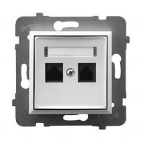 Ospel Aria biały - gniazdo komputerowe kat.5e GPK-2U/K/m/00 Ospel