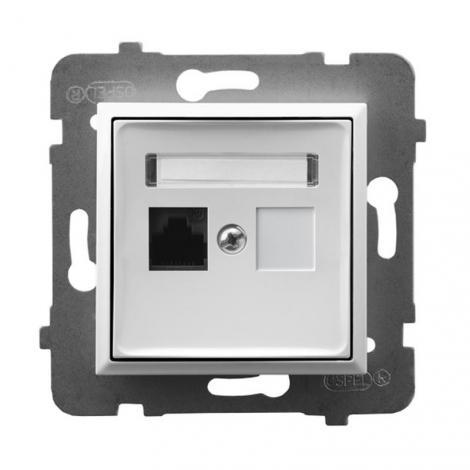 Ospel Aria biały - gniazdo komputerowe kat.5e GPK-1U/K/m/00 Ospel