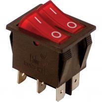 Wyłącznik kołyskowy podwójny włącz-wyłącz czerwony TES-43 Tracon Electric
