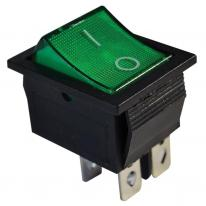 Wyłącznik kołyskowy włącz-wyłącz 2-polowy zielony TES-44 Tracon Electric