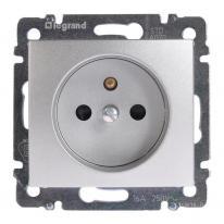 Legrand Valena aluminium - gniazdo pojedyncze z przesłonami (+0) Legrand