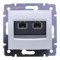 Legrand Valena aluminium - gniazdo telefoniczne podwójne Legrand